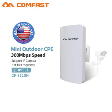 Wireless Long Range Outdoor Ap 300Mbps Wifi Transmission Bridge CPE 2.4G Ethernet Extender Access Point RJ45 LAN/WAN Wifi router