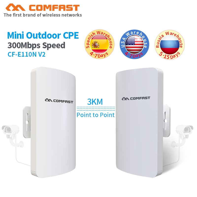 2pcs 1-3KM Long range Comfast CF-E110N Outdoor Mini CPE Wireless WIFI  Extender Repeater 300Mbps WiFi Router Bridge Nanostation -