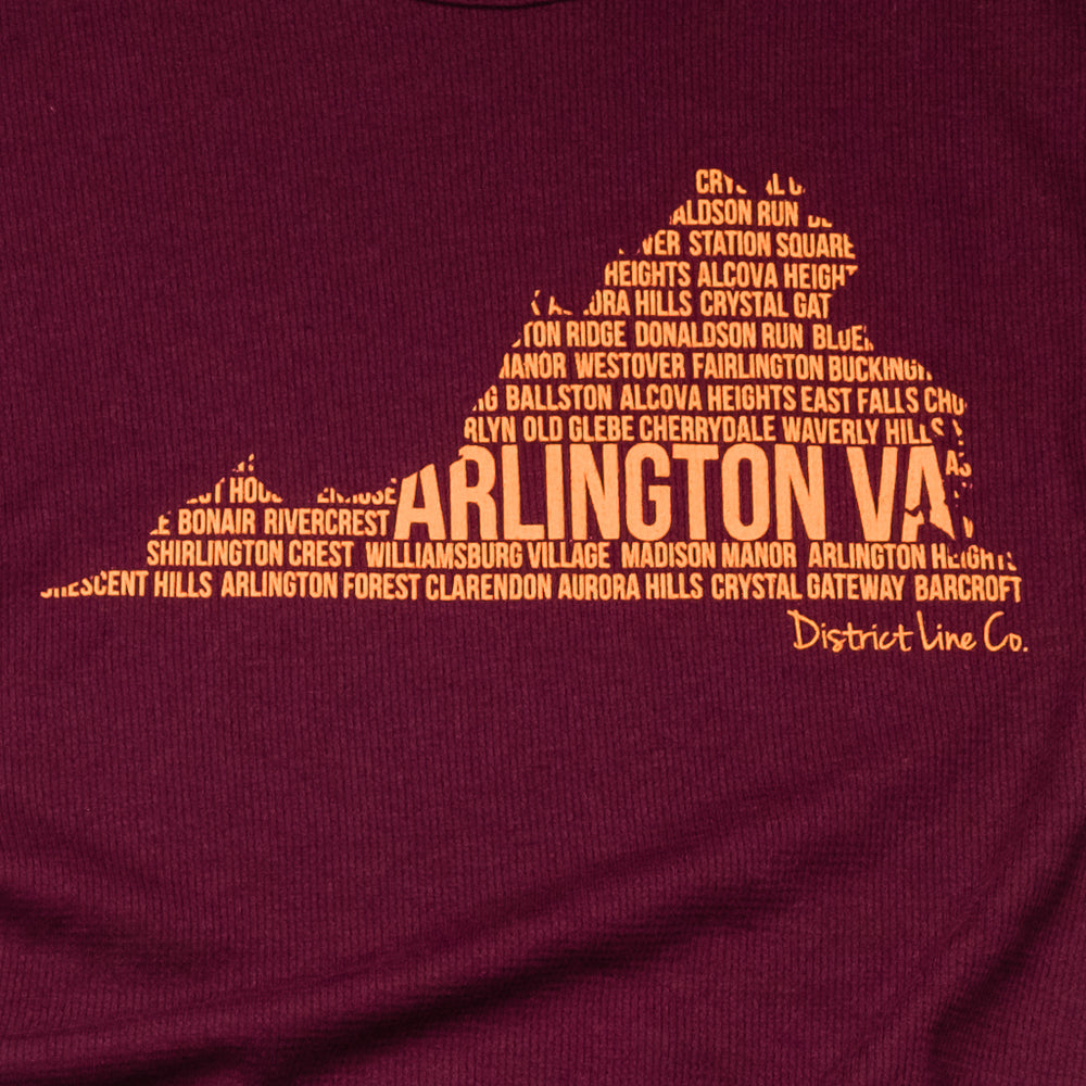 Arlington, VA | Unisex Long Sleeve Tee | Maroon & Orange | Hokies Special Edition