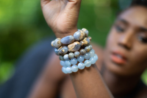 Woman wearing Chalcedony Gemstone Bracelet Stack.
