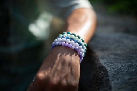 Male wearing Pastel Gemstone Bracelet Stack.
