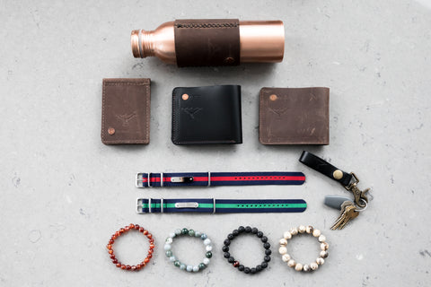 Natural Stone Bracelets, Leather Wallets, Key Chain, Nylon Bracelet Flatlay