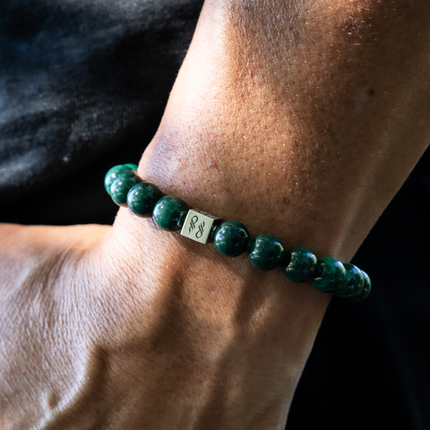 Male wearing Malachite and Sterling Silver Bracelet.