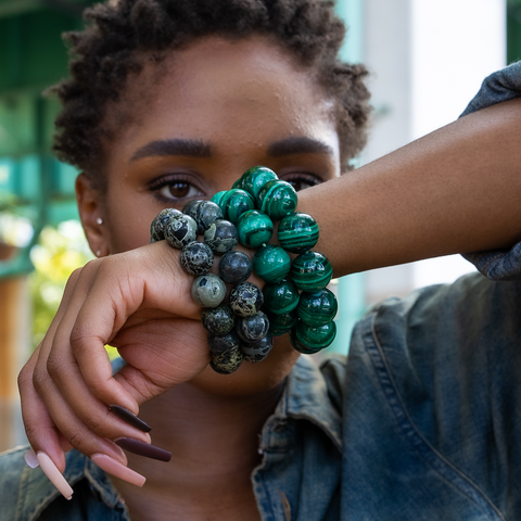 Malachite and Kambaba Jasper Bracelets.