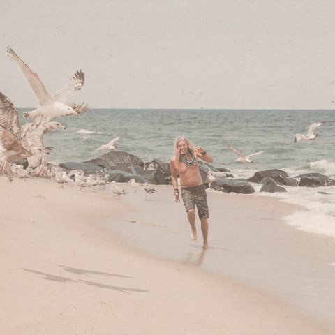 male running along beach chasing birds