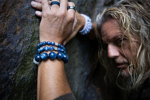 Man wearing Kyanite Gemstone Bracelet