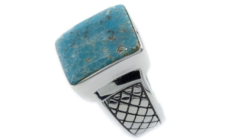 Sterling Silver Turquoise Gemstone Men's Ring