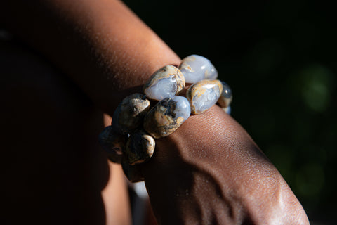 Woman wearing two Chalcedony Bracelets