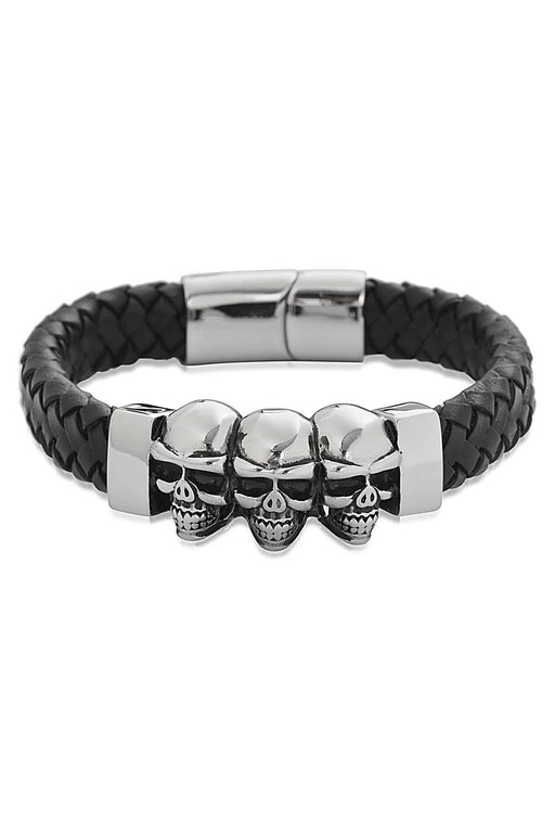 Black Leather Skull Head Bracelet