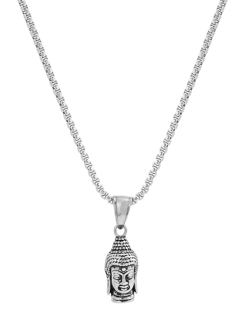 Silver Stainless Steel Buddha Head Pendant Necklace