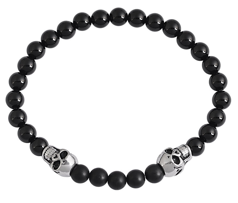 Black Tourmaline Matte & Gloss Finish Natural Stone Bracelet
