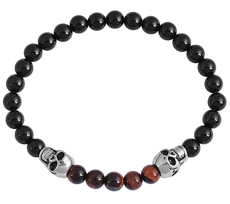 Black Tourmaline & Red Jasper Natural Stone Bracelet
