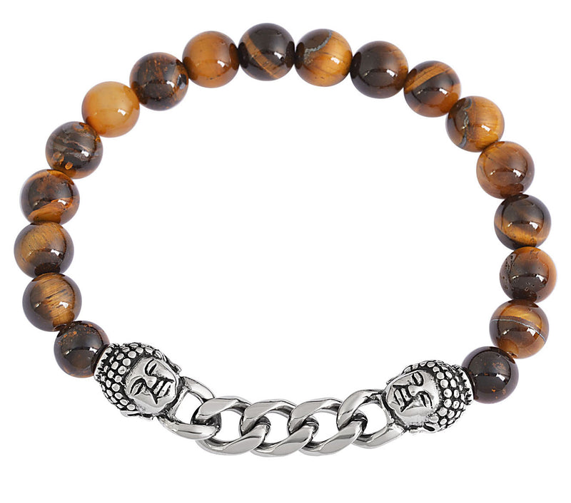 Tiger's Eye Natural Stone Buddha Chain Link Bracelet