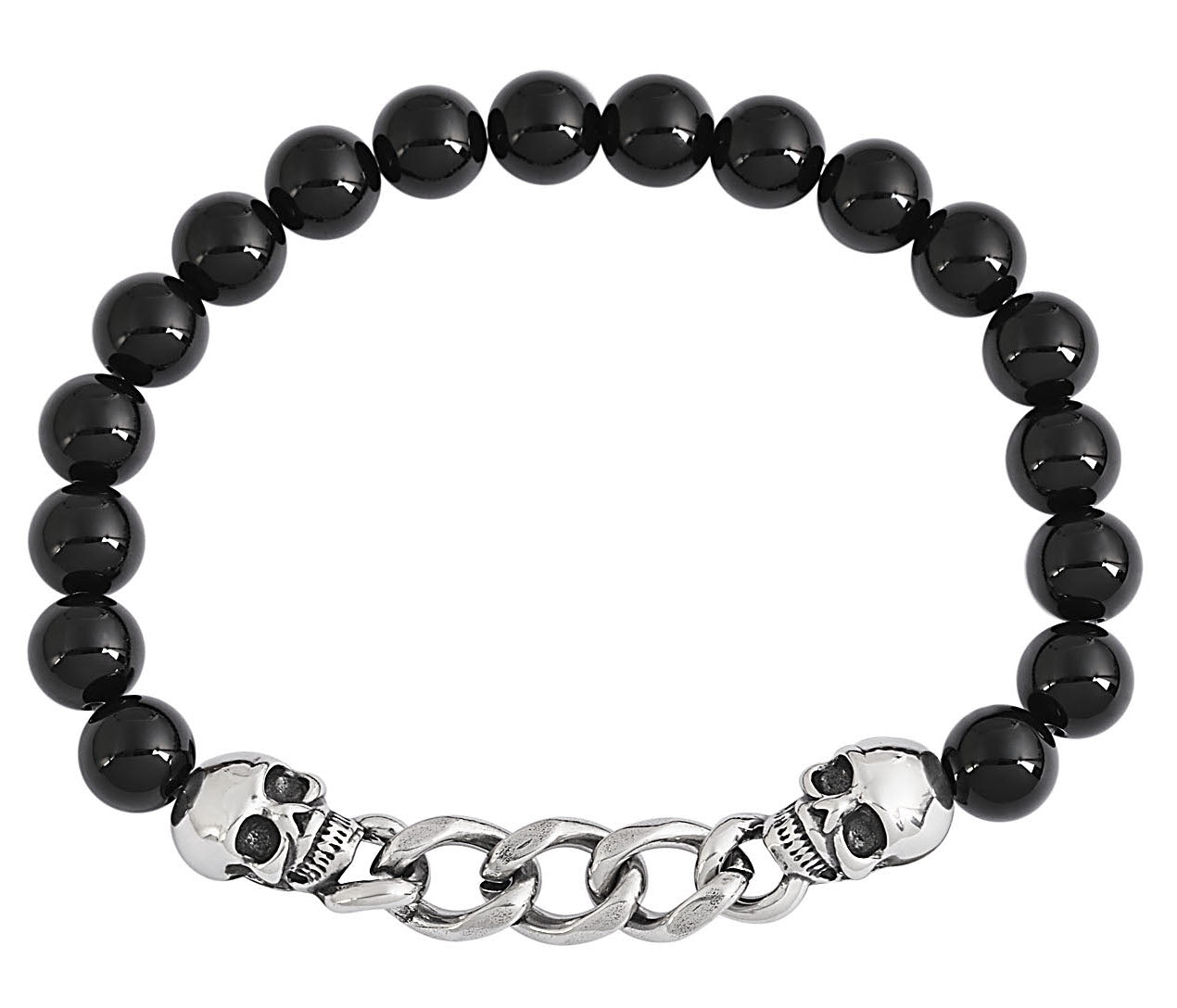 Black Natural Stone Skull Chain Link Bracelet