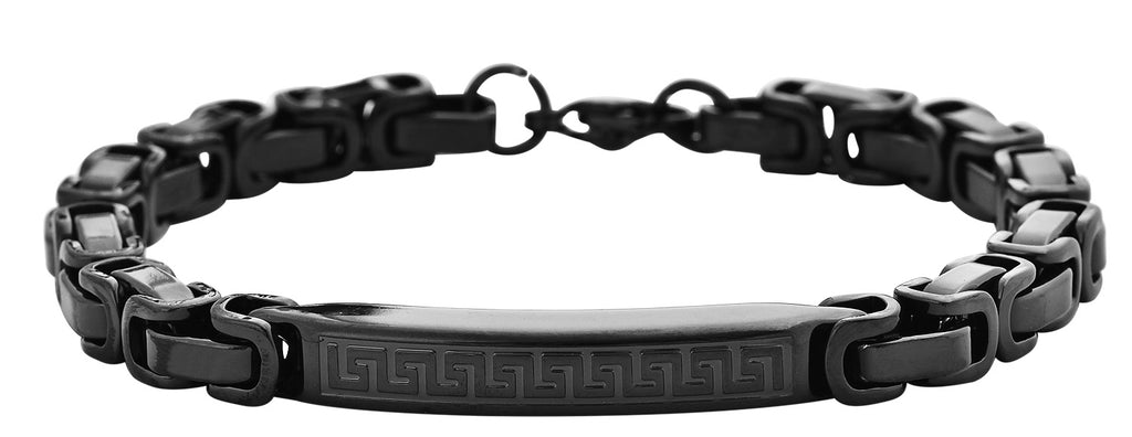 Black Stainless Steel Plaque Bracelet W/ Box Chain