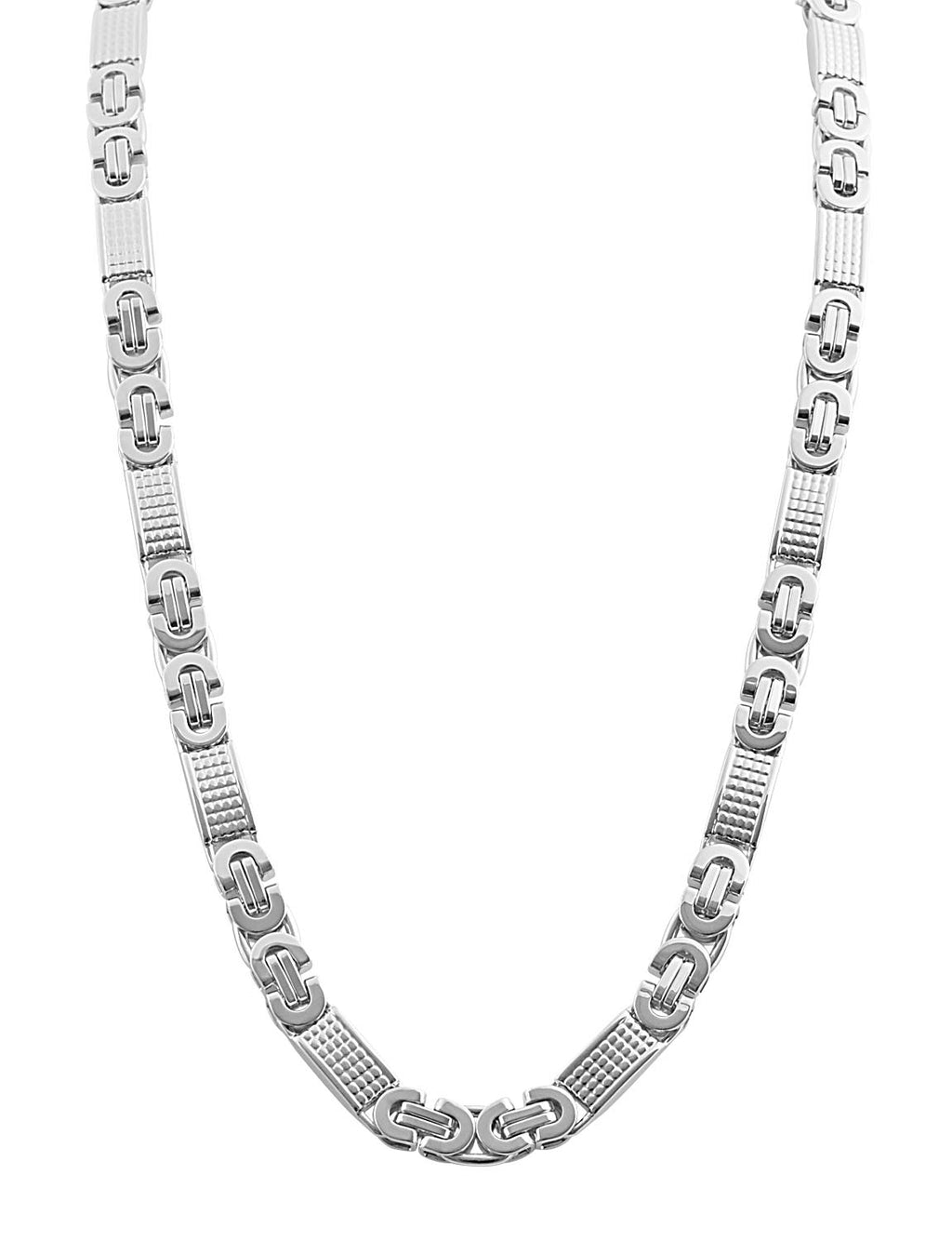 Silver Stainless Steel mix link design chain 24 inch length with a lobster claw clasp