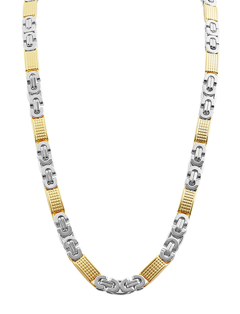 Stainless Steel Gold & Silver Design Chain Necklace