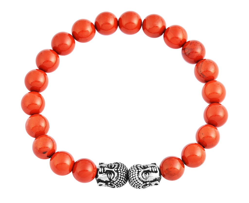 Red Jasper Natural Stone Bracelet Buddha Head Pendants