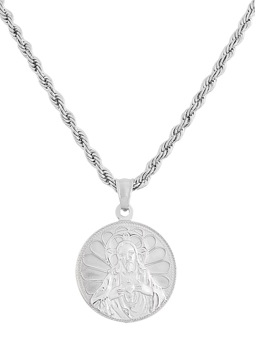 Silver Praying Jesus Necklace