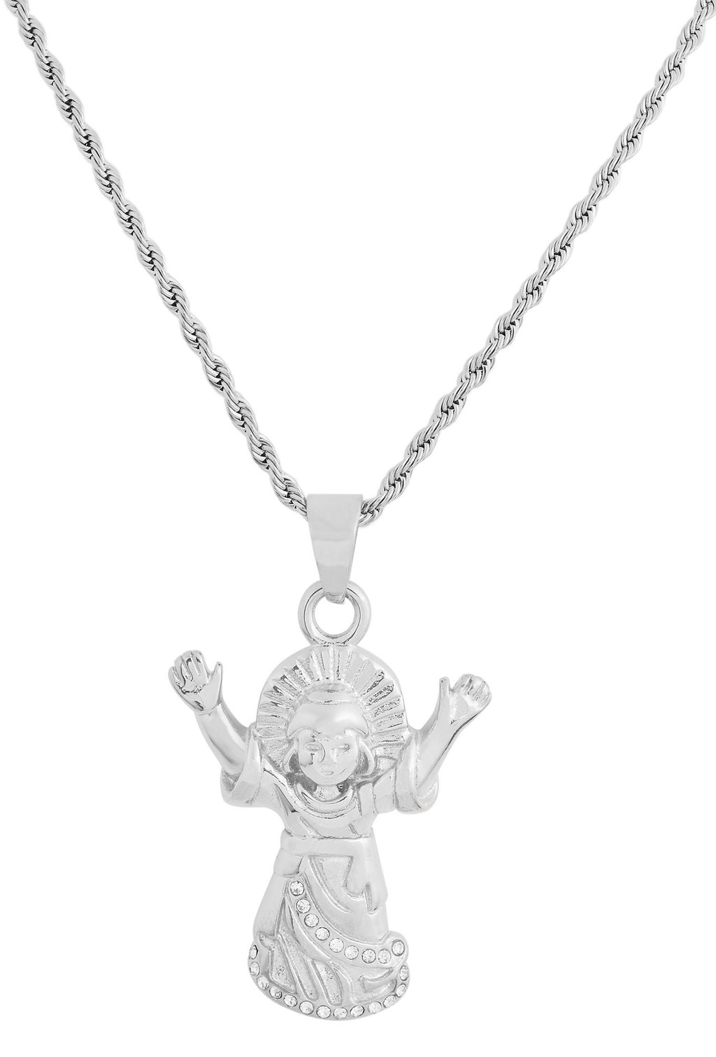Silver Stainless Steel Praying Angel Pendant Necklace