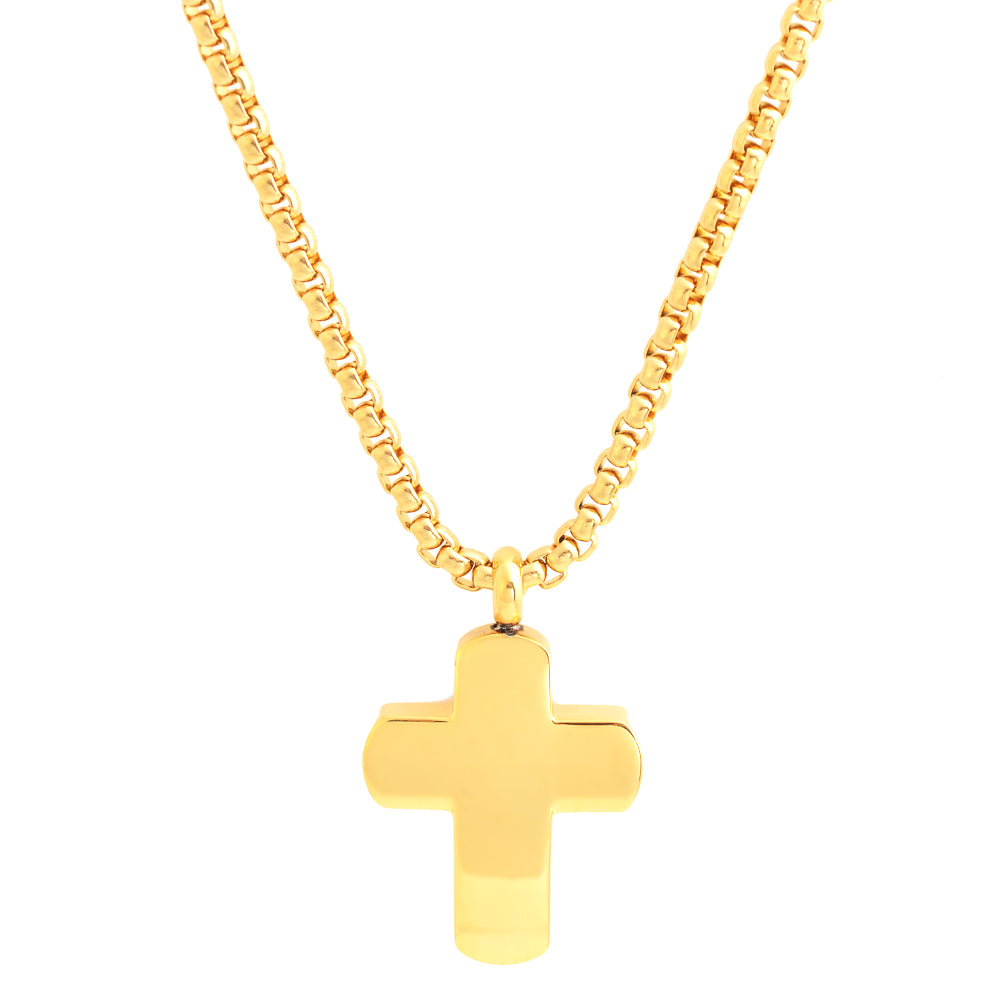 Gold Gloss Finished Stainless Steel Cross Necklace