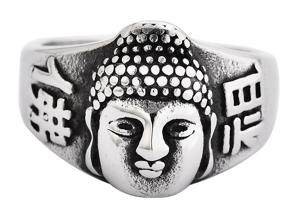 Silver Stainless Steel Buddha Face Men's Ring