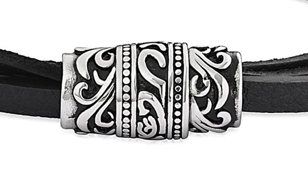 Triple Layer Black Leather Tribal Bracelet feature img close up
