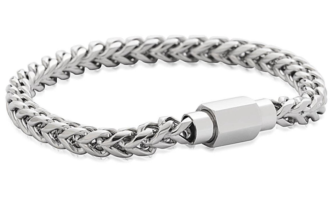 Silver Stainless Steel Braided Chain Design Bracelet