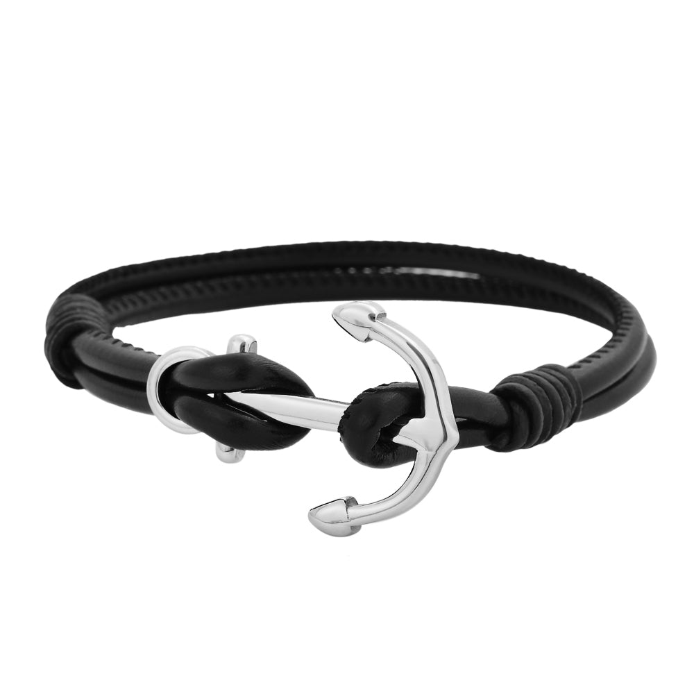 Black Rubber Anchor Bracelet