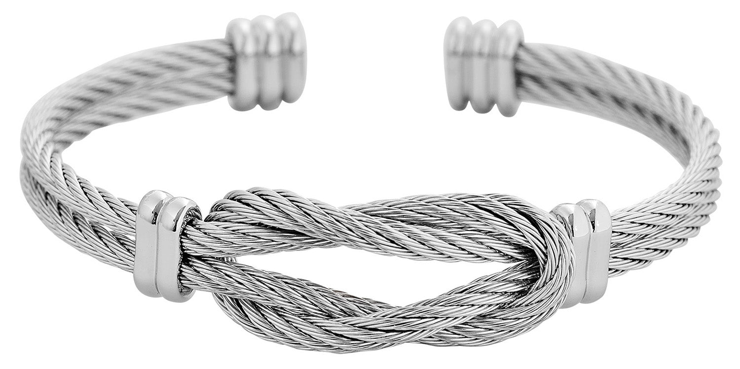 Silver Cable Wire Twist Design Cuff