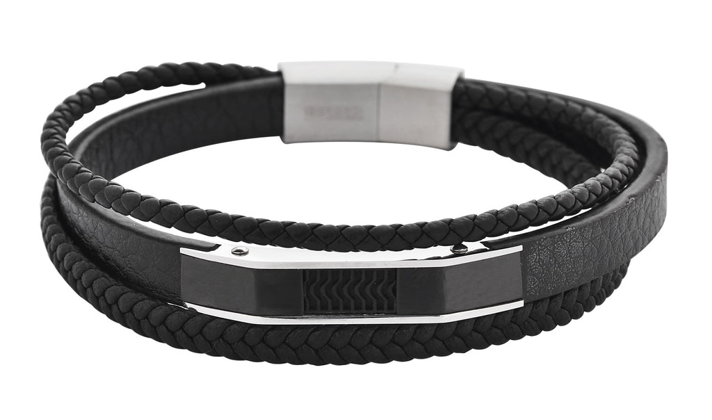 Black 3 Layer Full- Grain Leather Bracelet W/ Stainless Steel