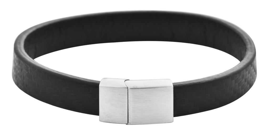 Fitted Carbon Fiber Bracelet W/ Stainless Steel