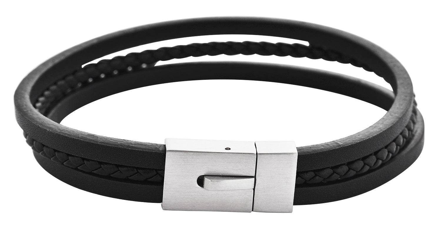 three layer black top grain leather bracelet 7.5 inch standard wrist circumference with silver 316L High-grade stainless steel snap clasp free domestic shipping handmade and designed by playhardlookdope