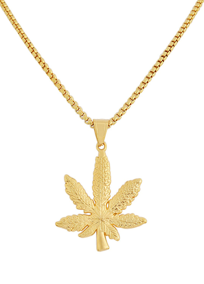 Silver Stainless Steel Weed Plant Necklace