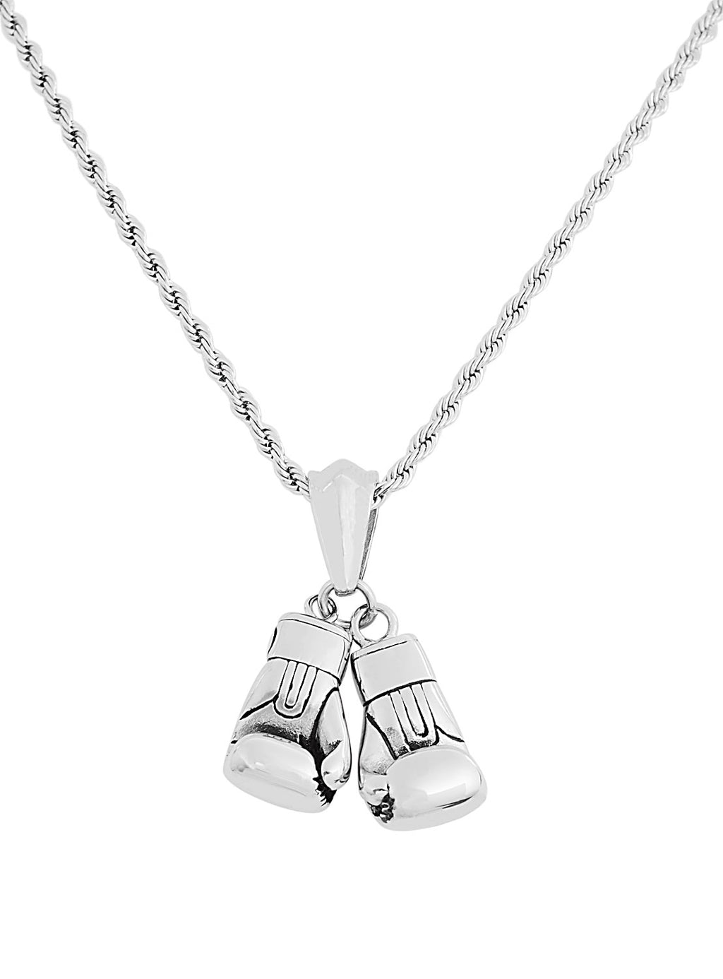 Silver Stainless Steel Boxing Gloves Pendant Necklace