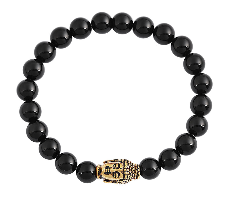 Black Onyx Gloss Finish Natural Stone Bracelet Buddha Head Pendant