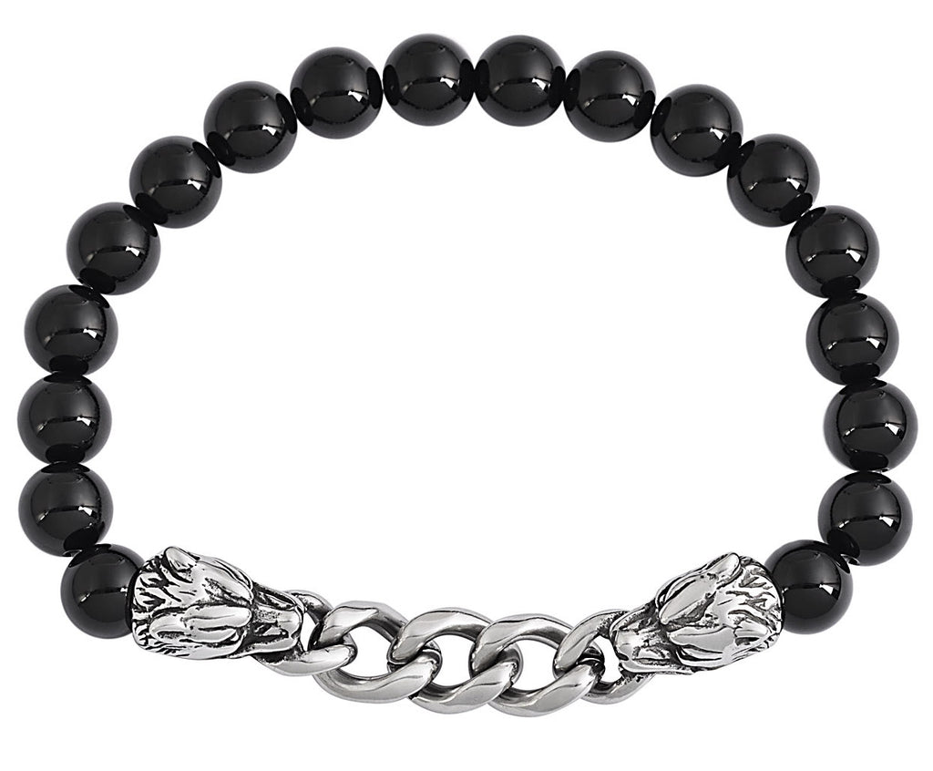 Black Tourmaline Stainless Steel Link Natural Stone Bracelet