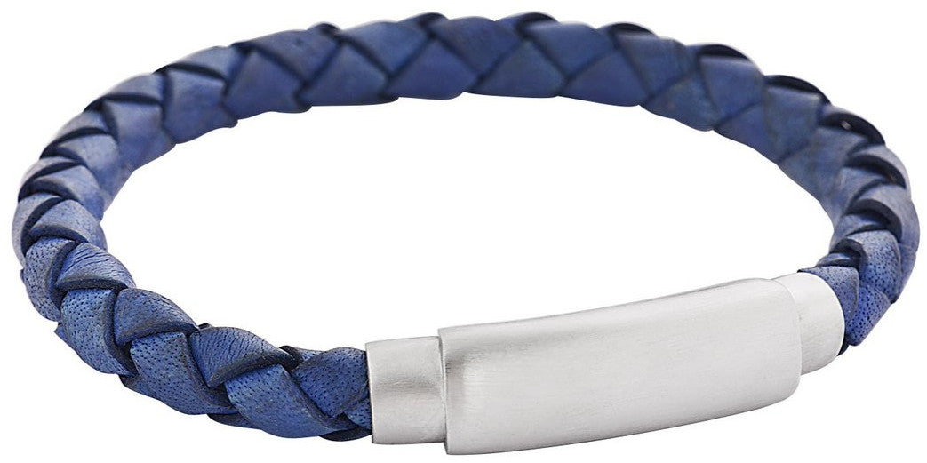 Blue soft braided leather feature img