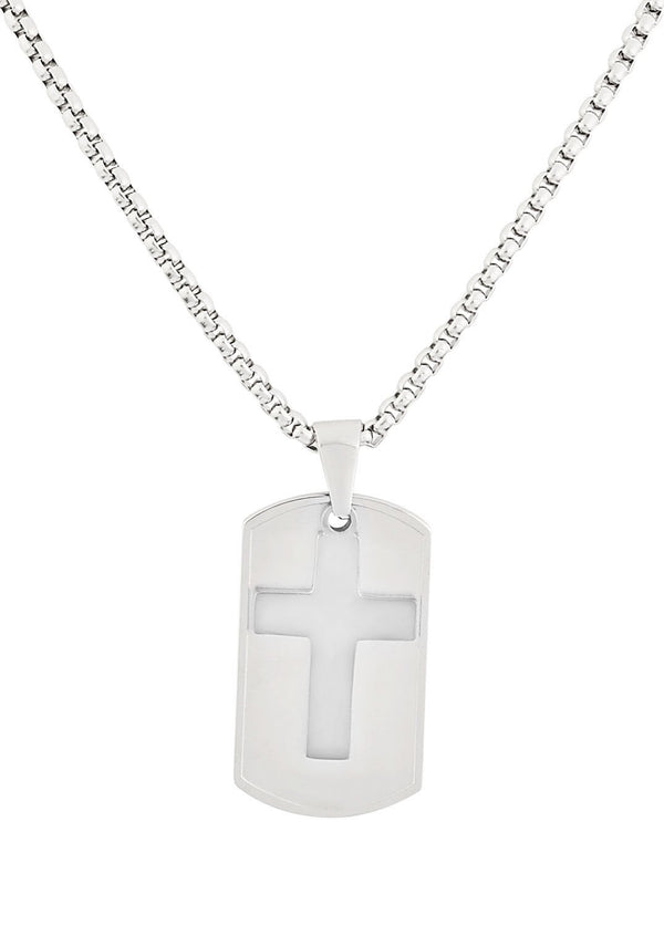 Silver Dog Tag and Cross Pendant Necklace feature img full length