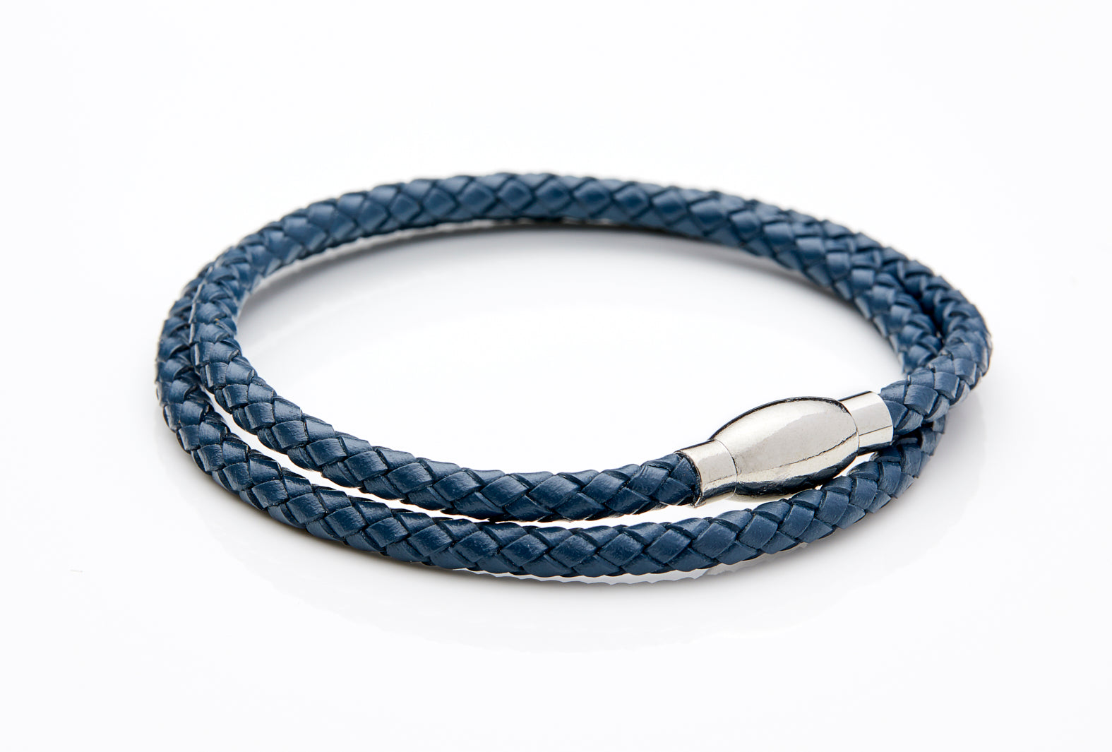 Navy Blue Braided Leather Wrap Bracelet