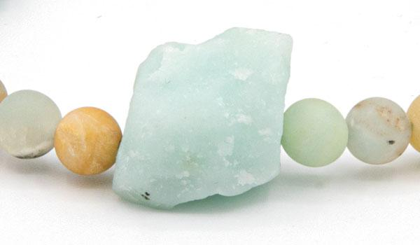 Amazonite raw natural stone bracelet close up