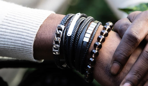 Black Top Grain Leather Wrap Bracelet
