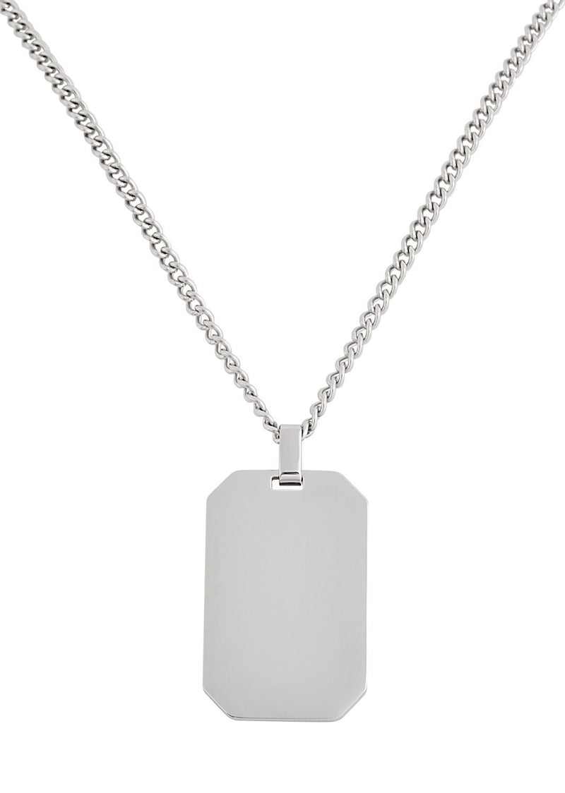 Silver Dog Tag Pendant Necklace Feature img full length