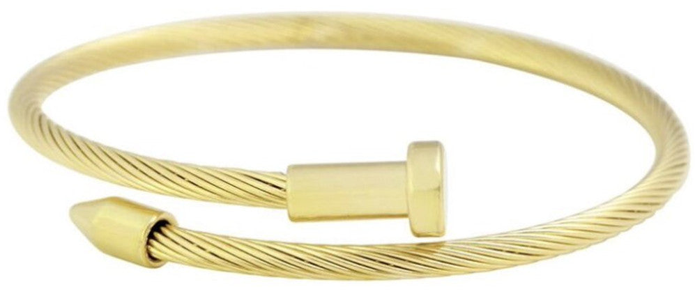 gold stainless steel cable wire nail design bracelet completely adjustable by pulling the ends of the nail to your liking hand wrapped using four feet of cable wire designed and handmade by playhardlookdope free size one size fits most