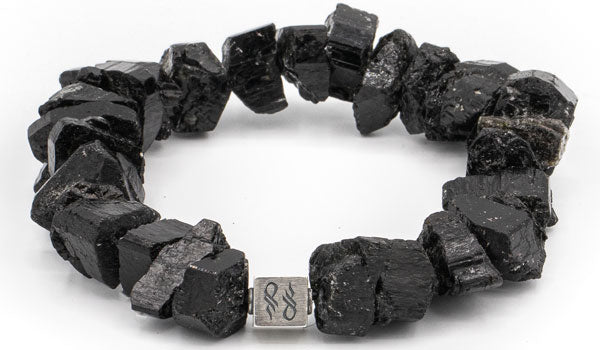 Alt= Black Tourmaline Raw Natural Gemstone Bracelet 925 Sterling Silver Centerpiece cube.
