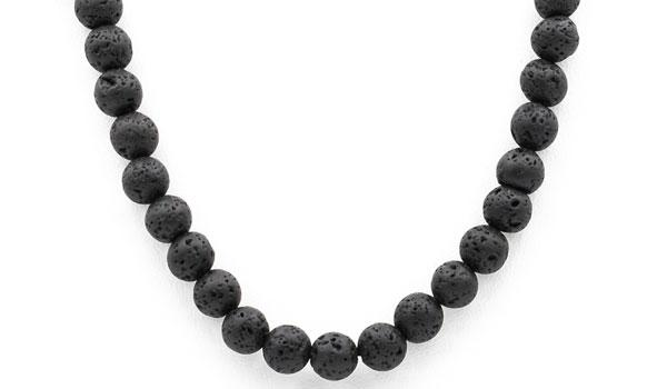 Black lava stone necklace