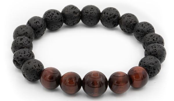 Black lava and red tigers eye natural stone bracelet