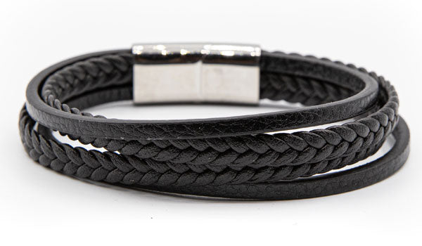 Alt=Black Leather layered bracelet.