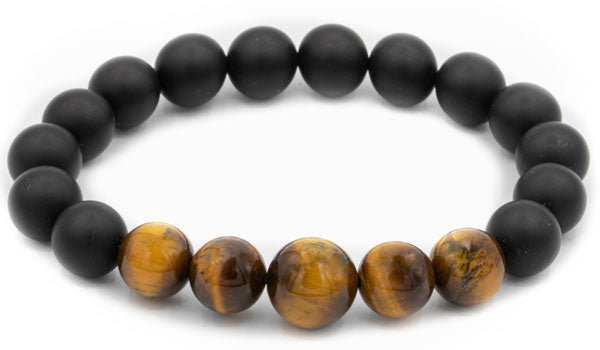 Black onyx and brown tigers eye natural stone bracelet