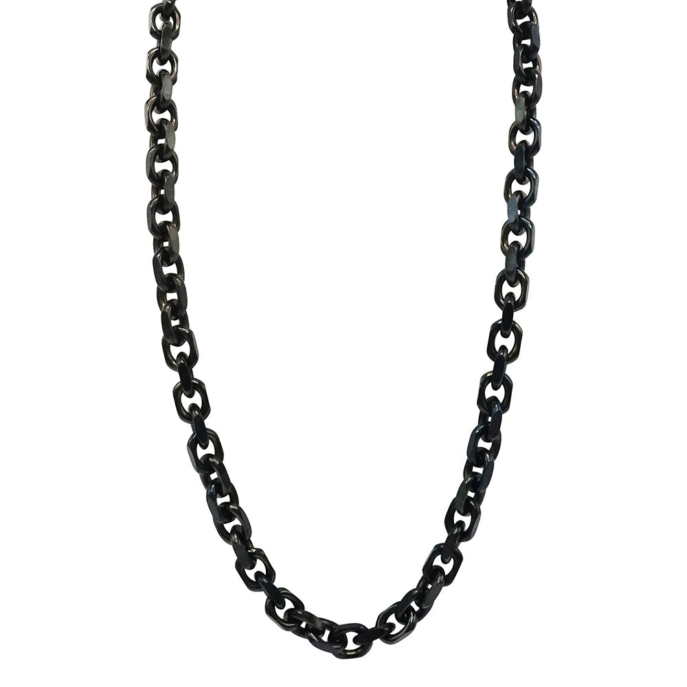 Black 316L High- Grade Stainless Steel Cable Chain twenty four inches in length lobster claw clasp handmade and designed by playhardlookdope free domestic shipping photographed in lightbox hanging position